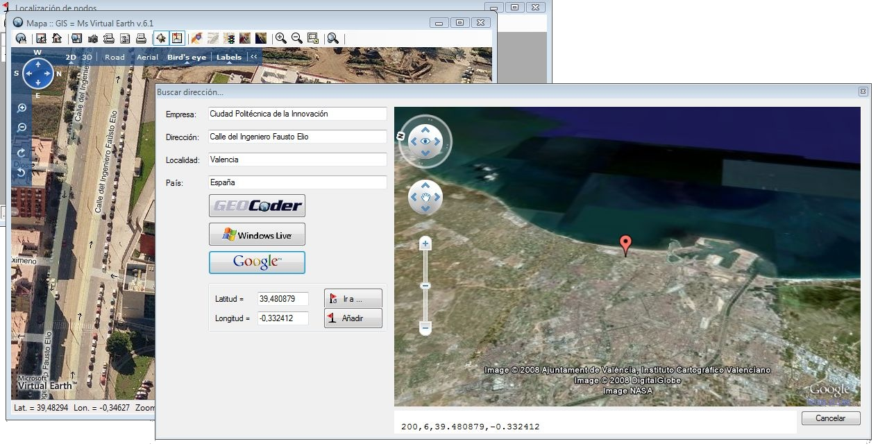Google Earth 3D integrado en el geocoder y comparación con Ms Virtual Earth.