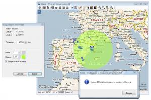 Geo-búsqueda de localizaciones en una zona de influencia