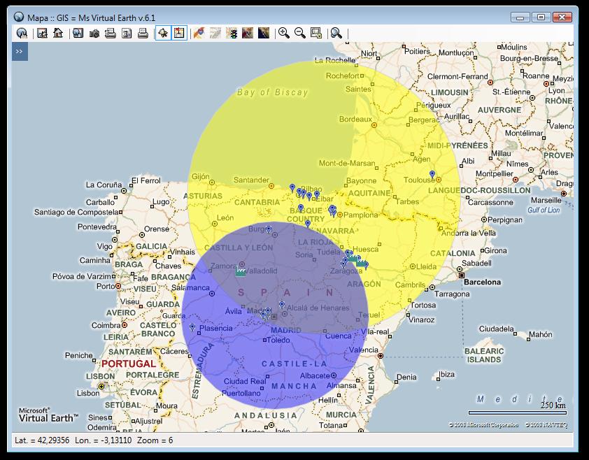 geo-búsqueda de localizaciones en un área de influencia