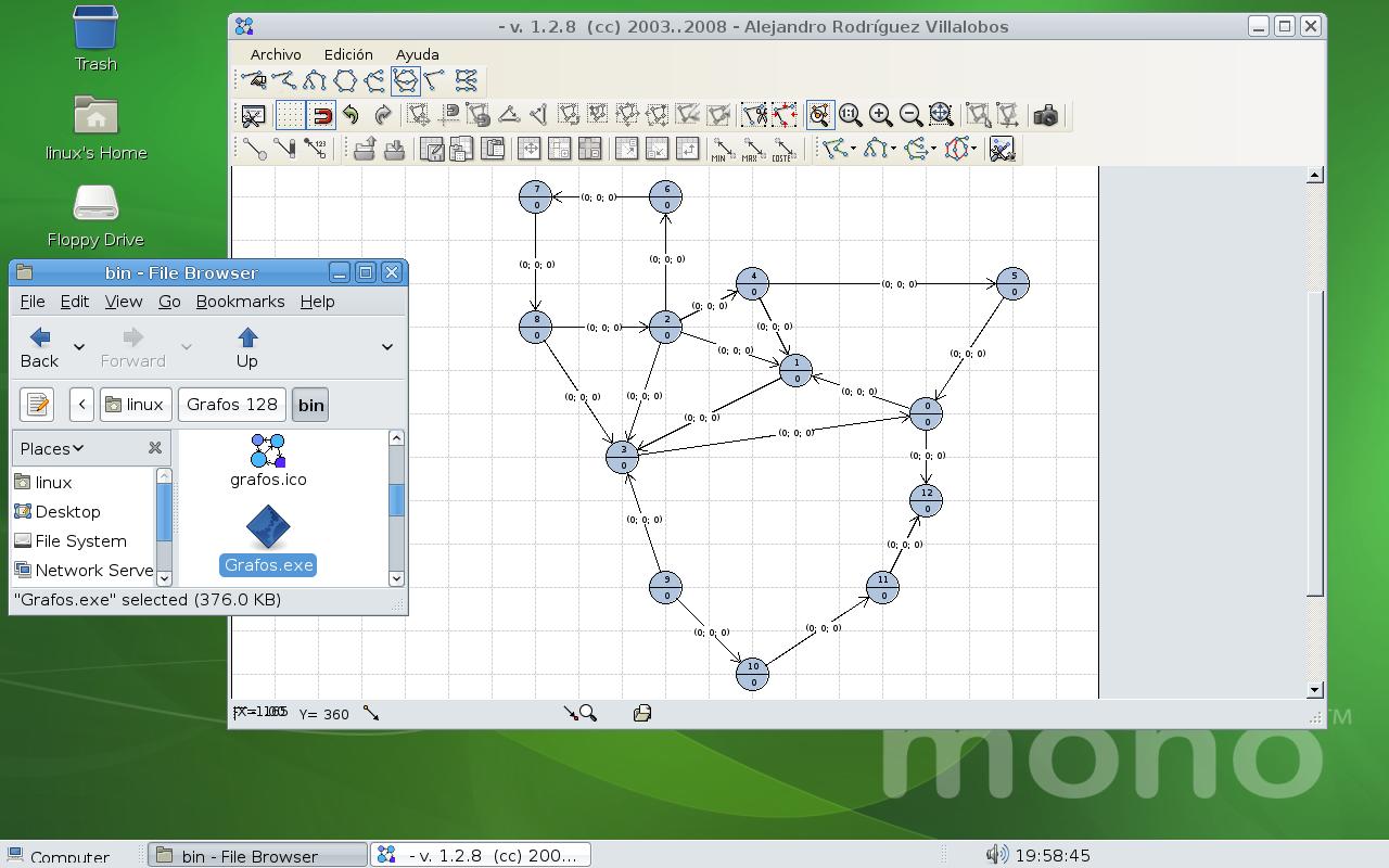Grafos para GNU/Linux compilado con Mono 1.9.1