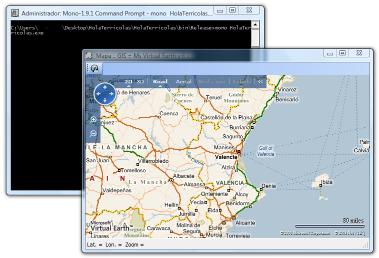 Virtual Earth con código C# compilado con Mono en Windows Vista
