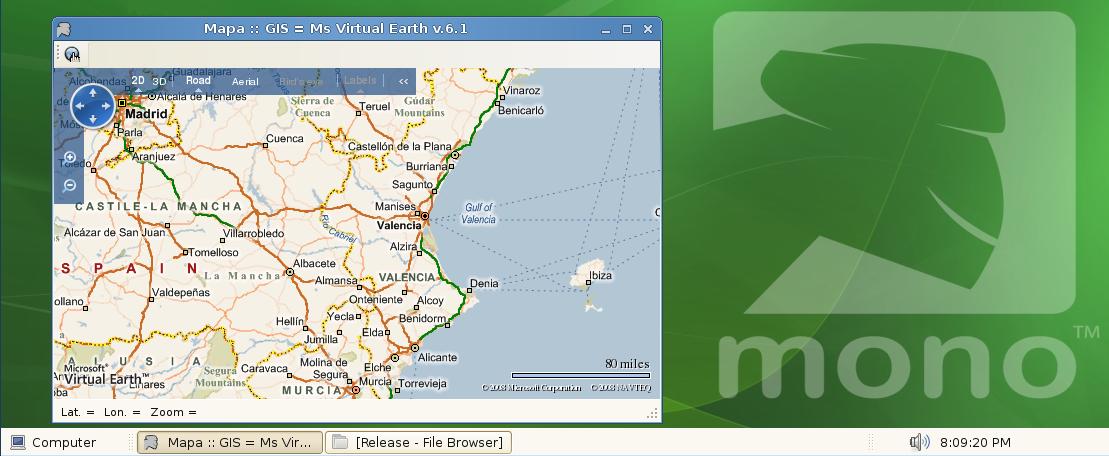 Virtual Earth con código C# compilado con Mono en SUSE GNU/Linux
