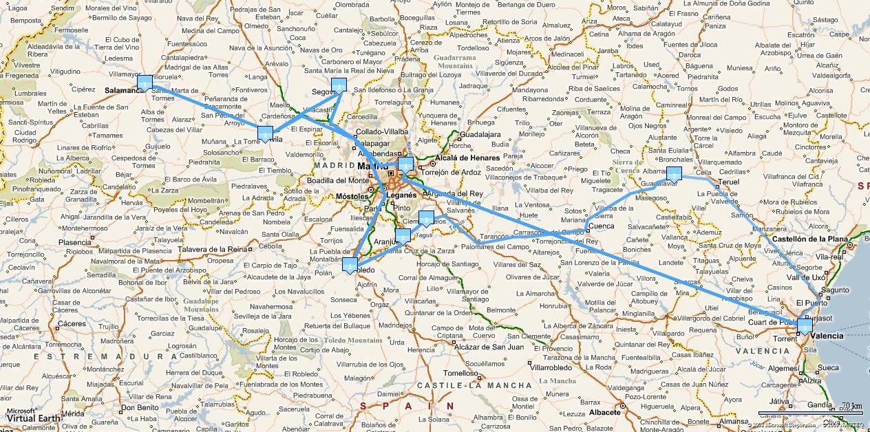 Rutas - itinerarios con baja resolución
