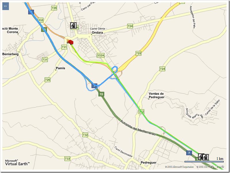 Comparativa entre la ruta planificada y la que se está realizando en curso