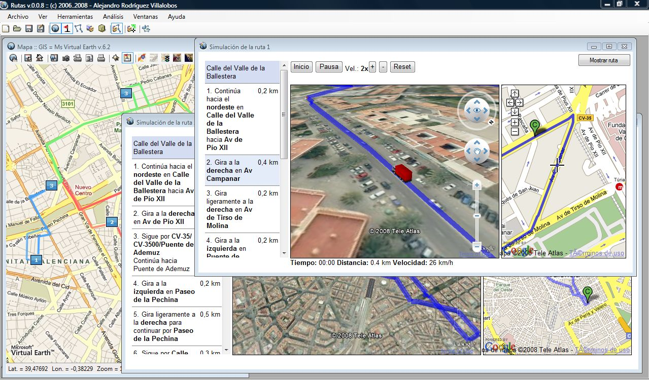 Simulación integrada mediante Google Earth y Google Maps de las rutas calculadas.  	 Simulación integrada mediante Google Earth y Google Maps de las rutas calculadas.