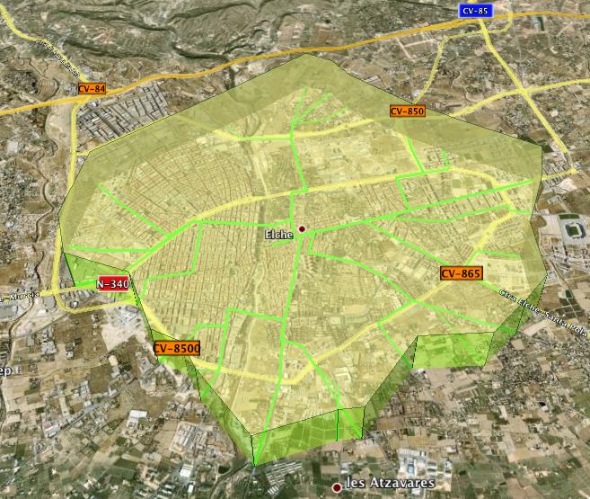 Mapa de accesibilidad de Elx en 3D