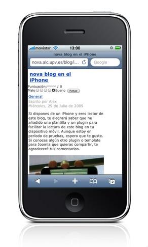 nova blog en el iPhone