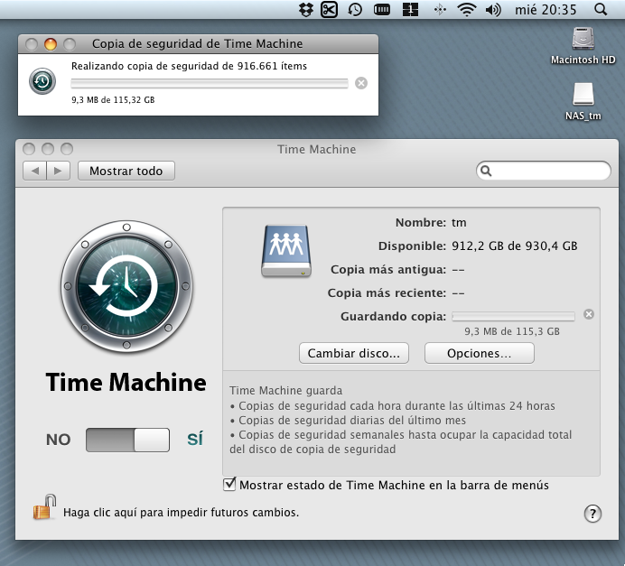TimeMachine en NAS (Mac OS X)