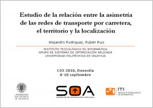 Estudio de la relación entre la asimetría de las redes de transporte por carretera, el territorio y la localización
