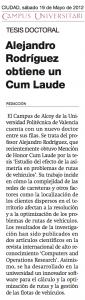 noticia de prensa – Alejandro Rodríguez (tesis cum laude)