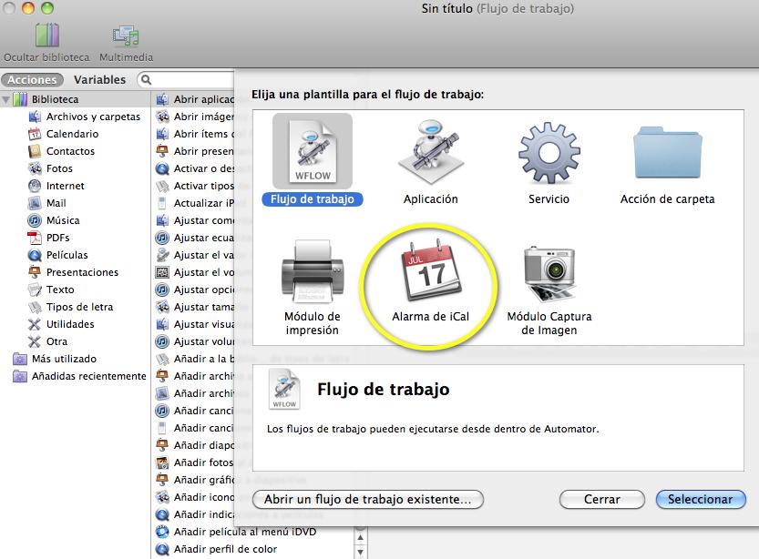 iCal y Automator