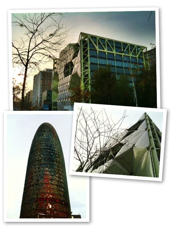 edificio IN3 y torre Agbar en Barcelona