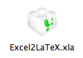 excel2latex xla