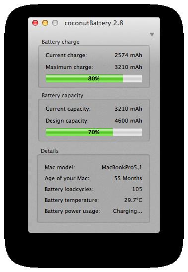 Coconut battery - batería vieja