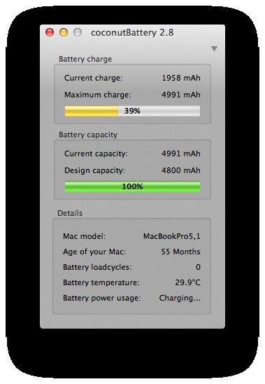 Coconut battery - batería nueva