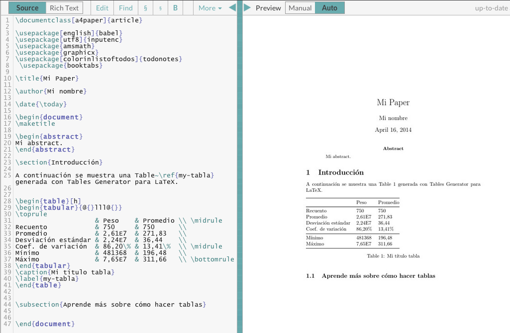 Table Generator: creador de tablas LaTeX (y HTML, Markdown