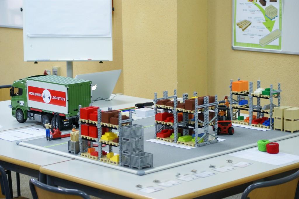 LLOG - un juego de simulación logística con estanterías, palets, productos, vehículos, y operadores a escala
