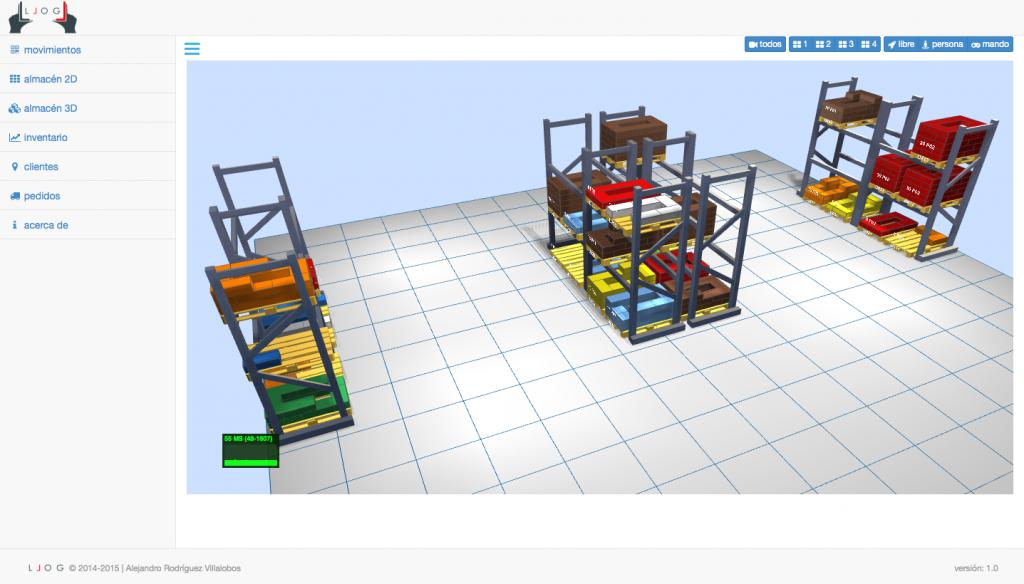 integración de una vista 3D del almacén en tiempo real
