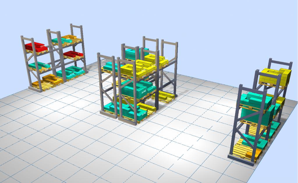 LLOG - almacén 3D coloreado por clasificación ABC