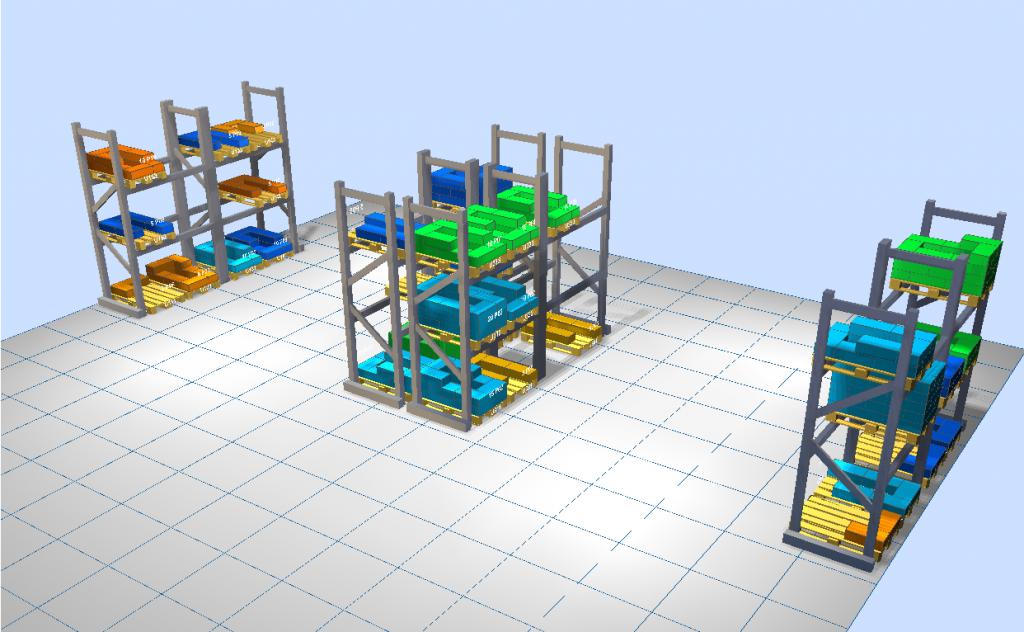 LLOG - almacén 3D coloreado por rotación y gradiente térmico