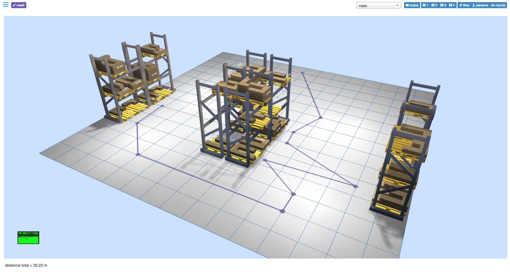 LLOG - dibujando y calculando rutas de picking en el almacén 3D