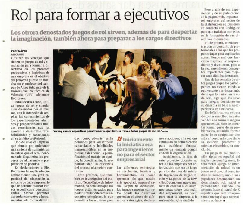 Juegos de rol y de simulación para la formación de directivos (noticia Mercadona)