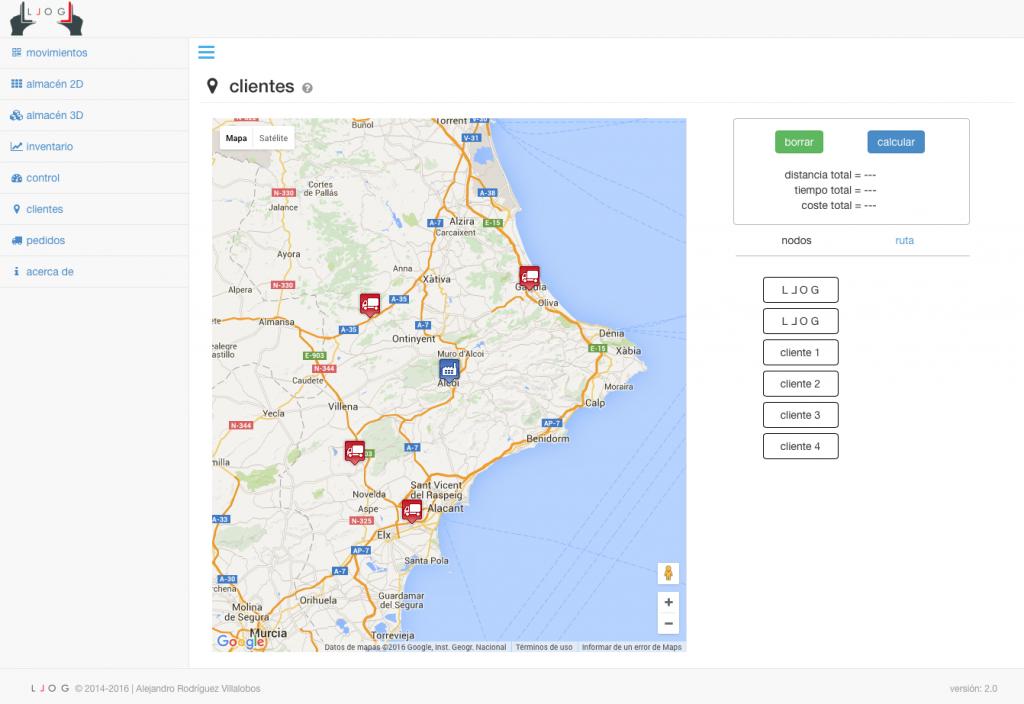 LLOG - la empresa y los clientes geolocalizados