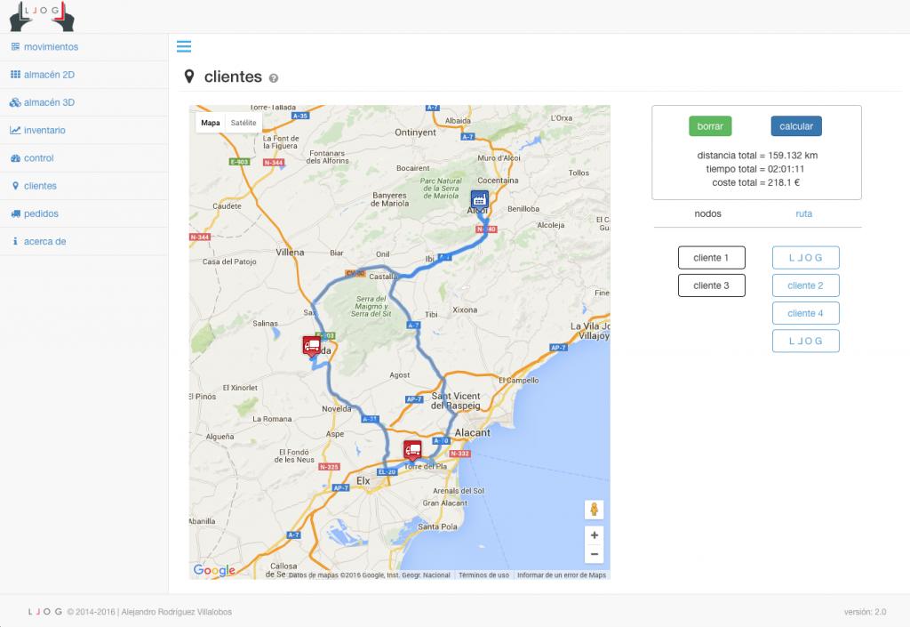 LLOG - evaluando la ruta de reparto en tiempo, distancia y coste