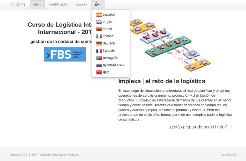 implexa v.3 permite personalizar el idioma de su interfaz