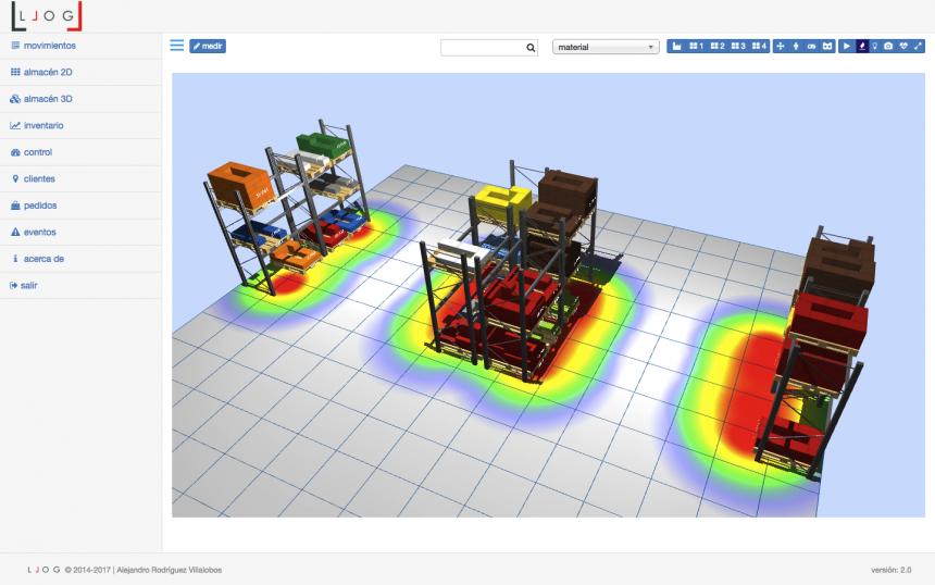 LLOG - mapa de intensidad de la actividad del almacén 3D