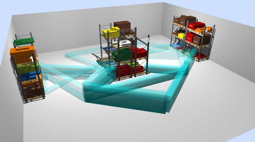 Inventario en 3D y flujos de salida de materiales en el almacén