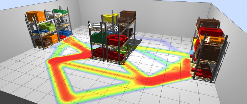 Mapa de recorridos en el almacén 3D de LLOG