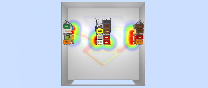 Mapa de recorridos y de ubicaciones visitadas en el almacén 3D de LLOG