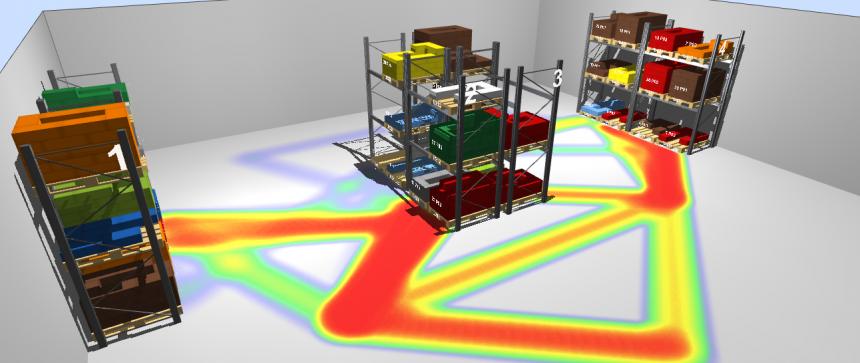 Análisis de la actividad del almacén en 3D