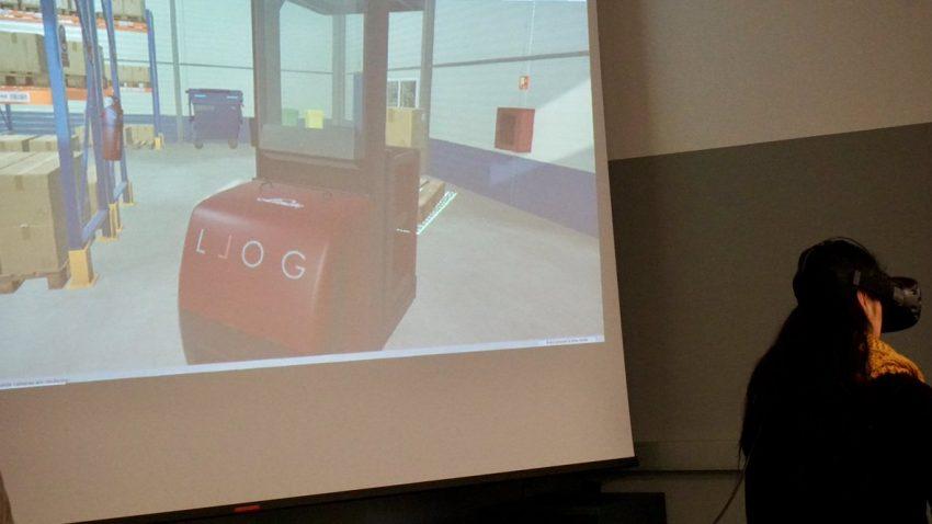 manejando un preparador de pedidos con realidad virtual