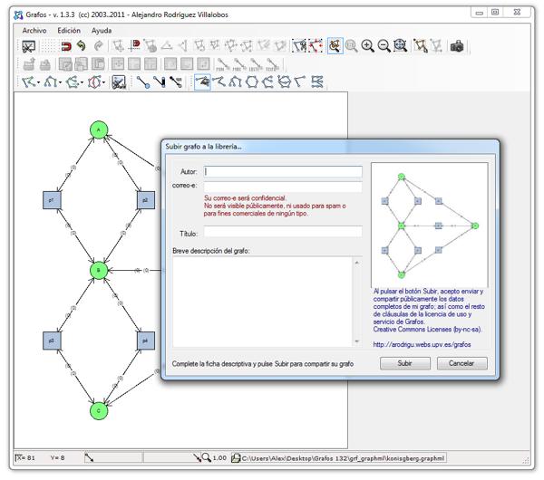 Grafos es un software gratuito para el aprendizaje de teoría de grafos