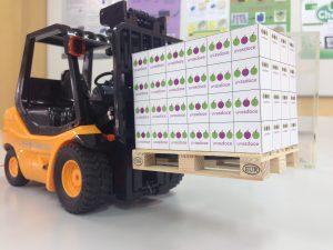 maquetas de unidades de carga y carretilla elevadora a escala 1/10