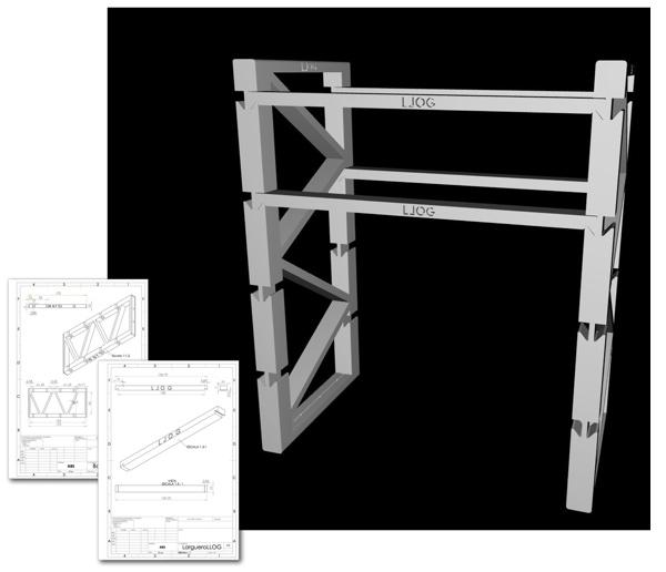 el modelo digital y los planos de la estantería de LLOG